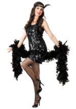 Black Tear Drop Flapper Dress