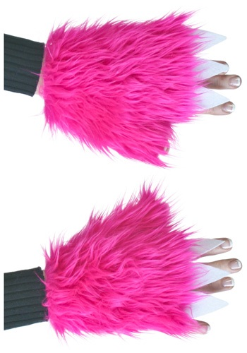 Furry Hot Pink Ladies Hand Covers