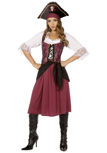 Plus Size Womens Burgundy Pirate Wench Costume