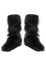 Black Furry Child Boot Covers