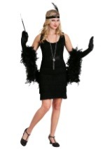 Womens Black Fringe Flapper Costume