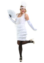 Womens White Fringe Flapper Costume