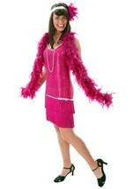 Fuchsia Sequin Flapper Dress