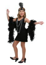 Girls Black Flapper Costume