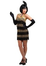 Womens Black & Gold Flapper Costume