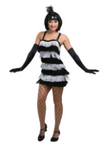 Black & Silver Fringe Flapper Costume