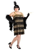 Gold Jazz Flapper Plus Costume