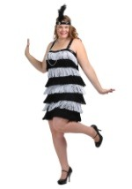 Plus Silver & Black Flapper Costume