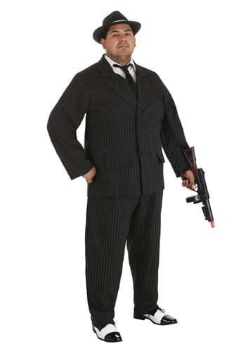 Deluxe Gangster Plus Size Costume (Thin Pin Stripes)