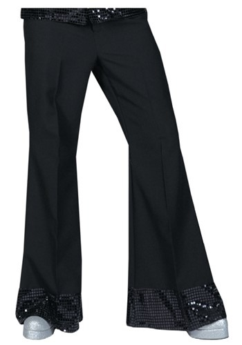 Black Sequined Cuff Disco Pants
