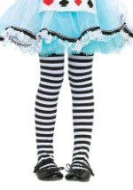 Child Striped Black and White Tights