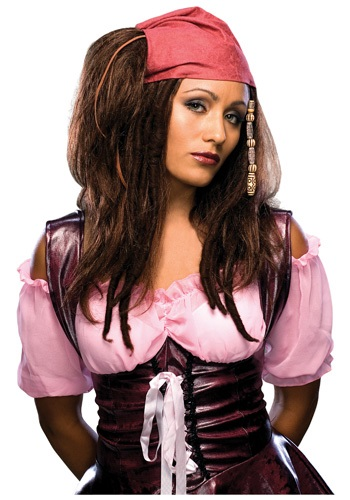 Sultry Brunette Pirate Wig